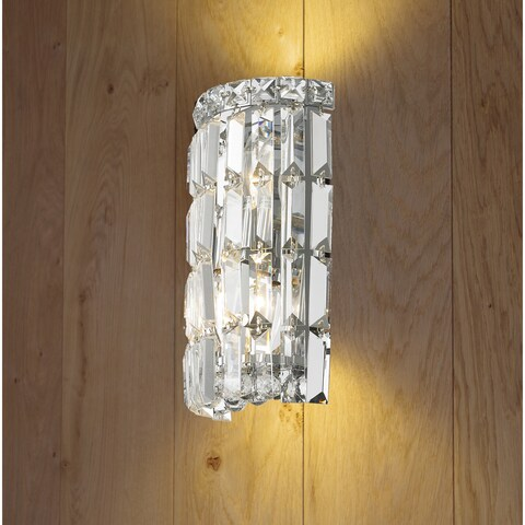 Glam Art Deco Style 2-light Chrome Finish and Clear Crystal 4-inch Wide Curved Wall Sconce Small