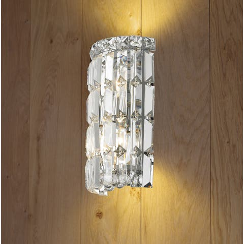 Buy crystal wall lights online at overstock our best lighting glam art deco style 2 light chrome finish and clear crystal 4 inch wide aloadofball Image collections