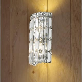 Glam Art Deco Style 2 Light Chrome Finish And Clear Crystal 4 Inch Wide