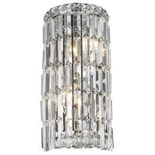 Glam Art Deco Style 2-light Chrome Finish and Clear Crystal Curved 8-inch Wide Small Wall Sconce