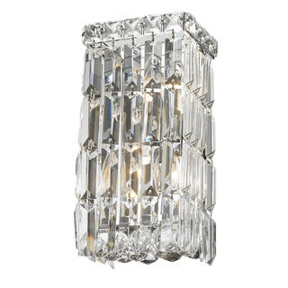 Glam Art Deco Style 2-light Chrome Finish and Clear Crystal 5-inch Wide Small Rectangle Wall Sconce