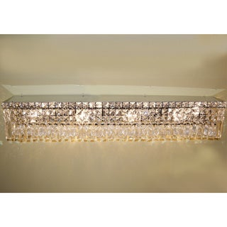 Glam Art Deco Style 8 light Chrome Finish and Clear Crystal 36-inch Wide Vanity Light Wall Sconce