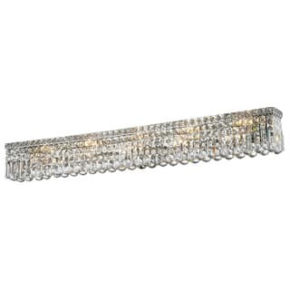 Glam Art Deco Style 10 light Chrome Finish and Clear Crystal 48-inch Wide Vanity Light Wall Sconce|https://ak1.ostkcdn.com/images/products/10695579/P17757296.jpg?impolicy=medium