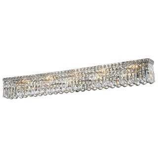 Glam Art Deco Style 10 light Chrome Finish and Clear Crystal 48-inch Wide Vanity Light Wall Sconce