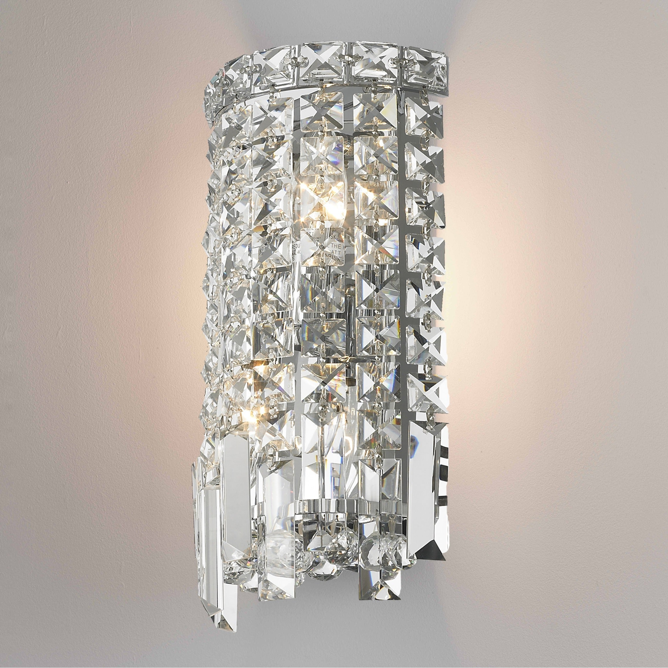 Glam Art Deco Style 2 Light Chrome Finish And Clear Crystal 6 Inch Wide Small String Wall Sconce