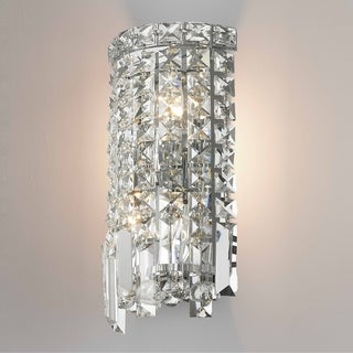 "Contemporary 2 Light Chrome Finish and Clear Crystal String Wall Sconce Small 6"" W"