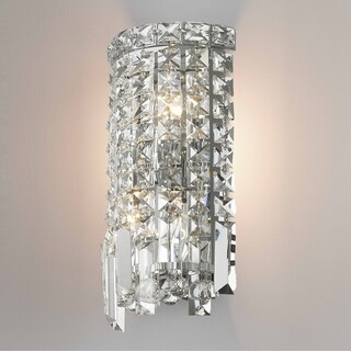 Glam Art Deco Style 2-light Chrome Finish and Clear Crystal 6-inch Wide Small String Wall Sconce