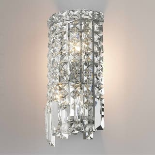 Glam Art Deco Style 2 Light Chrome Finish And Clear Crystal 6 Inch Wide