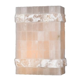 "Contemporary 1 Light Flemish Brass Finish Natural Quartz Wall Sconce Rectangle 12"" High"