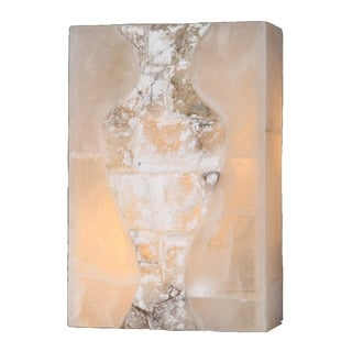 Metro Candelabra 1-light Flemish Brass Finish Natural Quartz 12-inch High Rectangle Wall Sconce