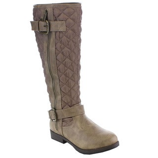 Beston Women's Quilted Buckle Knee High Riding Boots
