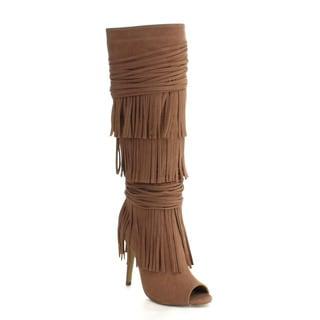 Beston DA15 Women's 3-layers Fringe Stiletto Peep Toe Under The Knee High Boots