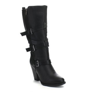 Beston DA26 Women's Stacked Heel Buckle Accents Side Zipper Riding Boots