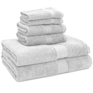 Luxury 100-percent Egyptian Cotton 6-Piece Towel Set - 2 Bath Towels - 2 Hand Towels - 2 Washcloths