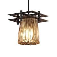Justice Design Group Veneto Luce Metropolis 1-light Dark Bronze Pendant, Amber Cylinder - Rippled Rim Shade