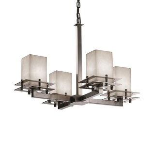 Justice Design Group Clouds Metropolis 4-light Brushed Nickel Chandelier, Clouds Square - Flat Rim Shade