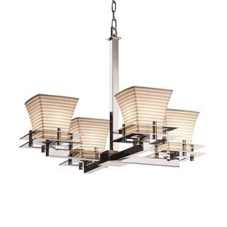 Justice Design Group Limoges Metropolis 4-light Polished Chrome Chandelier, Sawtooth Square Flared Shade