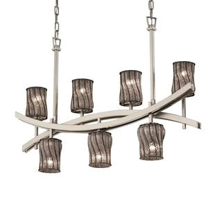 Justice Design Group Wire Glass Archway Up & Downlight Chandelier Cylinder with Flat Rim