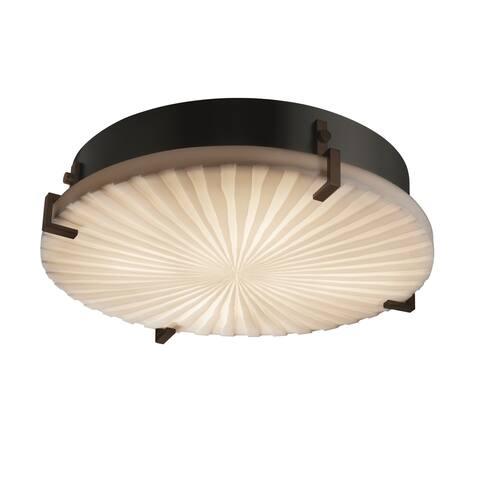 Justice Design Porcelina Clips 4-light Dark Bronze Flush Mount, Round Waterfall Shade