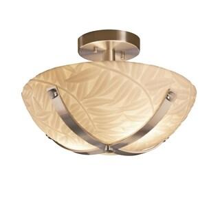 Justice Design Group Porcelina Dakota 14 inch Nickel Semi Flush Round Bowl