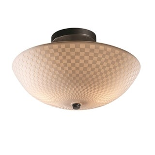 Justice Design Group Porcelina inch Black Semi Flush Round Bowl