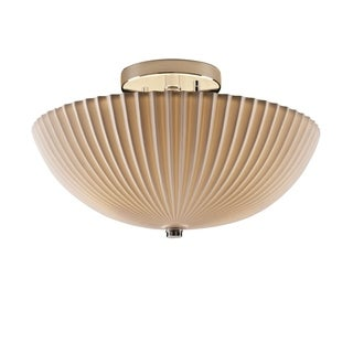 Justice Design Group Porcelina 2-light Polished Chrome Round Bowl Semi-flush, Pleats Shade