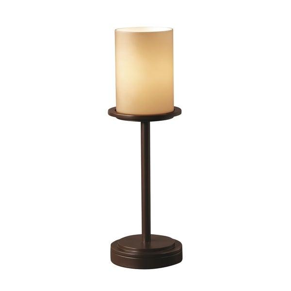 Justice Design Group Fusion Dakota 1-light Dark Bronze Table Lamp, Almond Cylinder - Flat Rim Shade