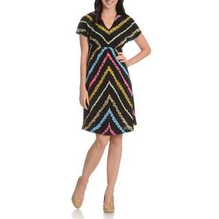 Episode Women's Diagonal Floral Stripe Silk Dress