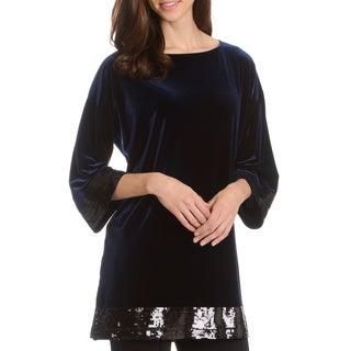 Joan Vass Women's Solid 3/4-Length Sleeve Long Velvet Tunic