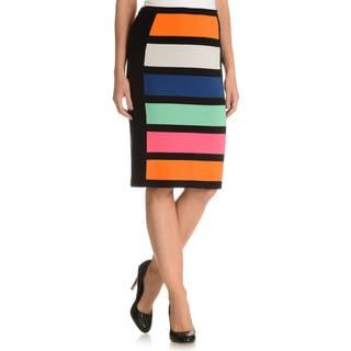 Joan Vass Women's Color Blocked Pencil Skirt