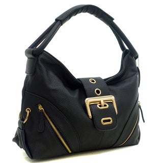 Dasein Buffalo Faux Leather Classic Hobo with Zippered Pockets