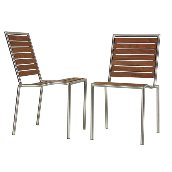 Cortesi Home Owen Stainless Steel Outdoor Chair in Solid Teak Wood, Silver (Set of 2)