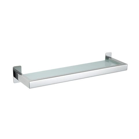 Cortesi Home Rikke Contemporary Stainless Steel Glass Vanity Shelf, Chrome