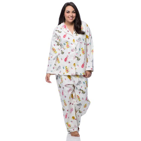 La Cera Women's Plus Size Cat Print Cotton Flannel Pajama Set