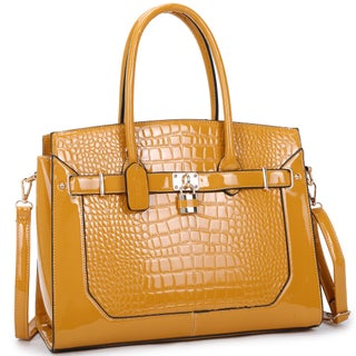 "Dasein Patent Faux Croco Embossed Leather Padlock Large Satchel - 15""W x 12""H x 6.5""D"