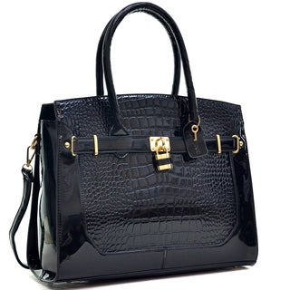 Dasein Patent Faux Croco Embossed Leather Padlock Large Satchel (Option: Yellow)