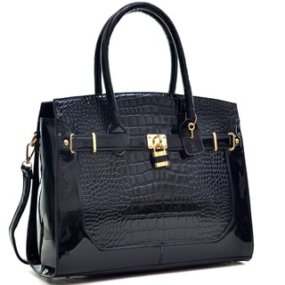Dasein Patent Faux Croco Embossed Leather Padlock Large Satchel