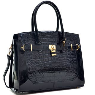 Dasein Patent Faux Croco Embossed Leather Padlock Large Satchel|https://ak1.ostkcdn.com/images/products/10696022/P17757642.jpg?impolicy=medium