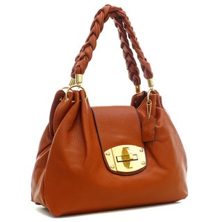 Dasein Buffalo Faux Leather Hobo Bag with Braided Shoulder Straps