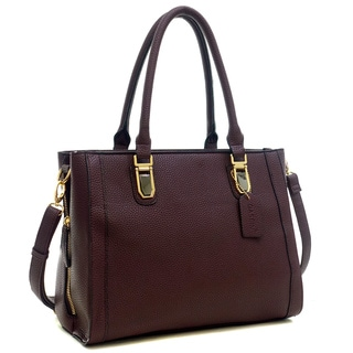 Dasein Buffalo Faux Leather Tote Bag with Expandable Zipper Sides
