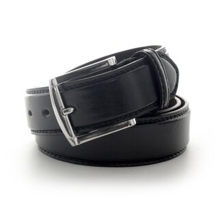 Faddism Men's Classic Leather Belt with Silvertone Buckle