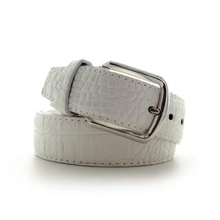 Faddism Croc Embossed Leather Belt