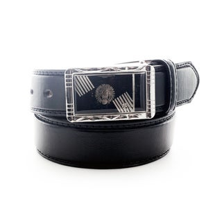 Faddism Men's Leather Belt with Lion Head Plate Buckle