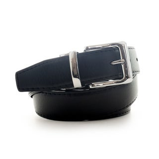 Faddism Men's Leather Reversible Belt with Shiny Silvertone Buckle