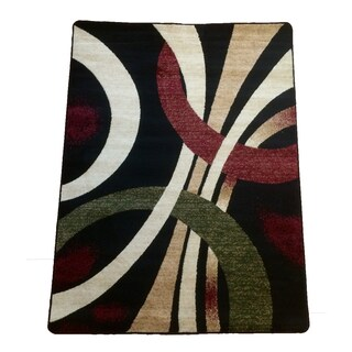 Prism Black Abstract Area Rug (5'3 x 7'3)