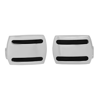 Stainless Steel Two-tone Black Accent Cufflinks