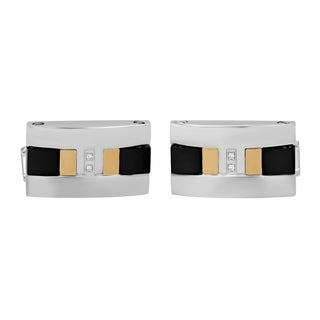 Stainless Steel and 18k Gold Diamond Cufflinks