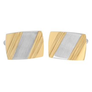 Two-tone Stainless Steel Cufflinks - White