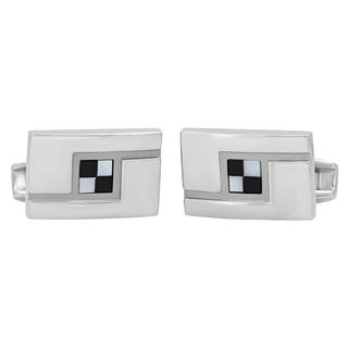 Stainless Steel Two-tone Checkered Pattern Cufflinks