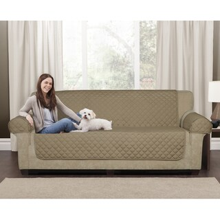 Maytex 3-Piece Waterproof Quilted Suede Sofa Pet Cover (Option: Tan)